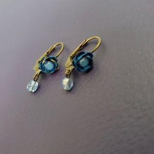 Michal Negrin Blue Flower Hanging Earrings